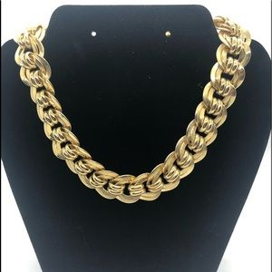 """Vintage Gold Plated Statement Necklace 16"""" long."""